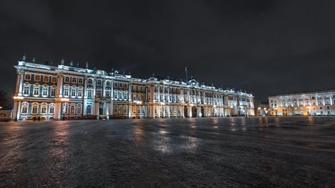 Night time-lapse (hyperlapse) of the Hermitage museum or Zimniy Palace on Palace square in Saint-Petersburg