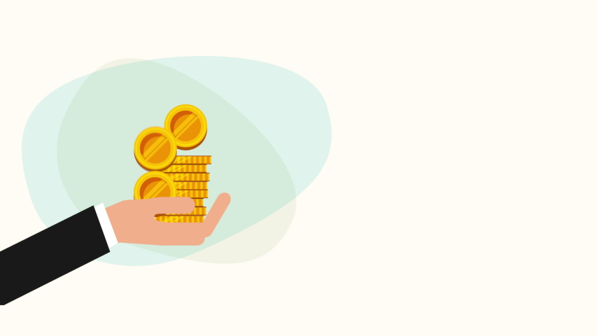 Hand with coins money dollars ,hd video animation   Shutterstock HD Video #1036034786