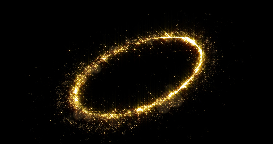 Golden glitter light circle tail, sparkling shine glow oval wave. Gold glittering magic shimmer trail, bright light sparks on black background | Shutterstock HD Video #1036176056