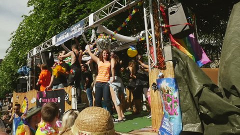 STRASBOURG - CIRCA 2015: People dancing in gay truck at the 14th local edition of the Lesbian Gay Bisexual and Transgender LGBT visibility march, the Gay pride called Festi Gays
