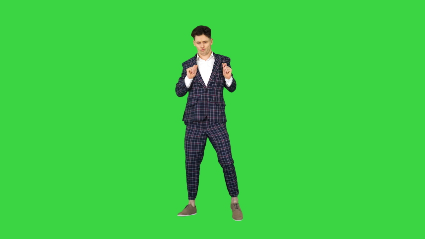 Happy Successful Businessman Dancing In a Crazy Way on a Green Screen, Chroma Key. | Shutterstock HD Video #1036333886