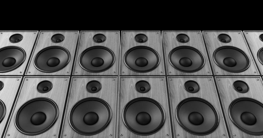 Vintage Cabinet Speakers Playing Music On A Concert Stage. Endless Loop. Music And Entertainment Related 3D Animation.   Shutterstock HD Video #1036334426