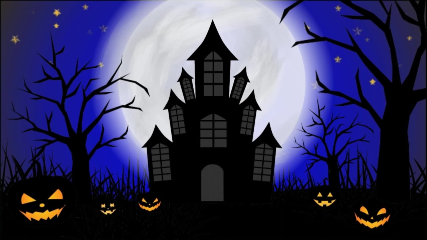 Animated Halloween Illustration with Blue Stock Footage Video (100%  Royalty,free) 1036475516