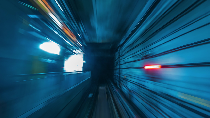 4K.Time lapse automatic train subway tunnel fast speed | Shutterstock HD Video #1036573166
