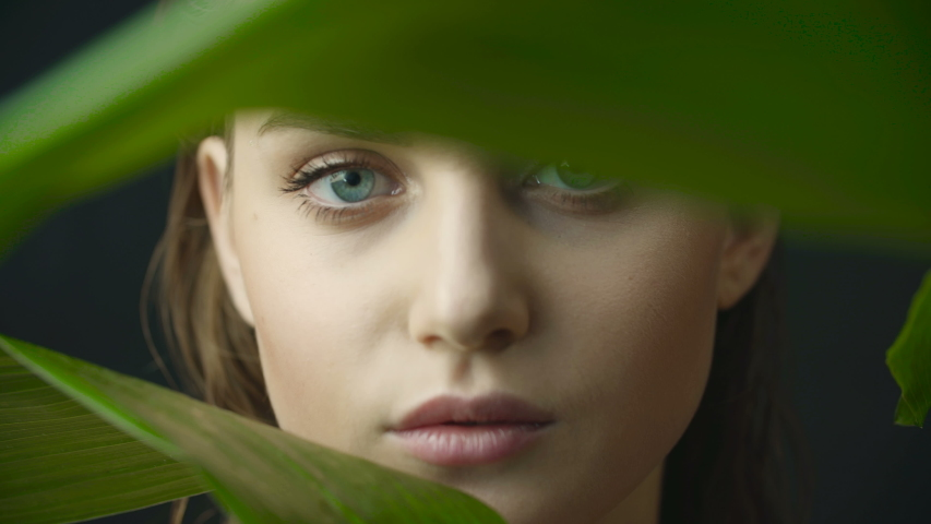 Face of girl with clean skin with natural makeup among exotic plants on a dark background in studio. Advertising of natural and organic cosmetics. Gaze of girl through large green leaves.  | Shutterstock HD Video #1036718156