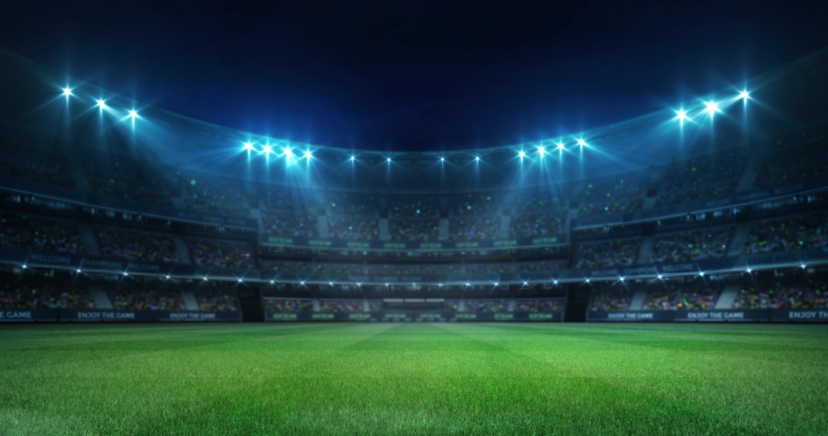 Illuminated empty grass playground before the game in a stadium full of fans, sport 4K professional background animation loop | Shutterstock HD Video #1036747346