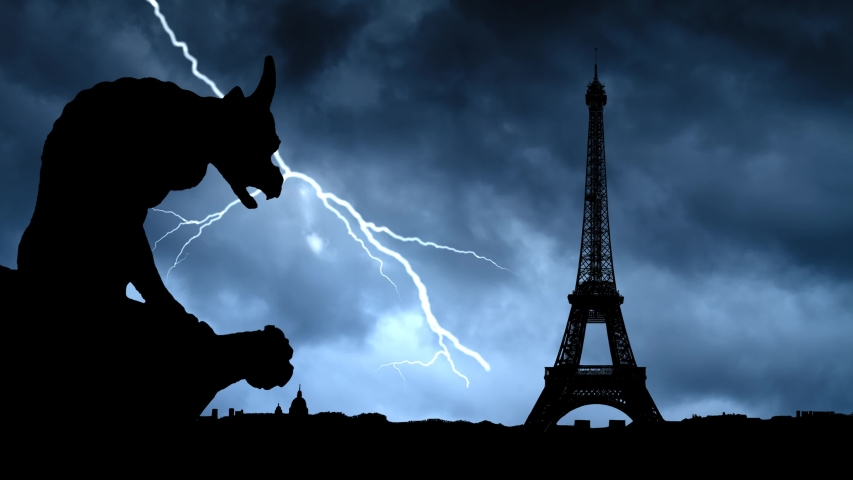 Gargoyle or Chimera Overlooking Paris with Eiffel Tower from Notre Dame, Time Lapse with Thunderstorm and Lightning, France | Shutterstock HD Video #1036790486
