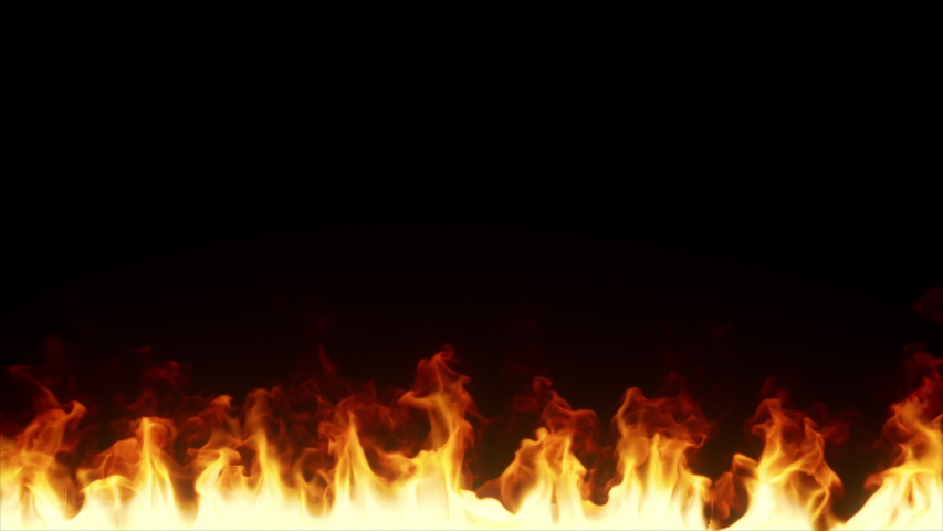 Burning line of fire in slow motion. Wall of fire emitting flames on an isolated black background. Seamless loop 3d render #1036808156