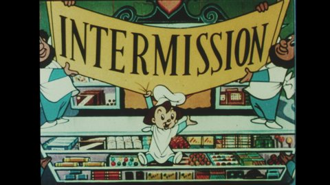 1960s  Animated Cartoon. Factory Whistle Blows and Elves Drive Out of The Candy Factory, Off the Silver Screen and through The Movie Theater. A Banner is Revealed Declaring Intermission.