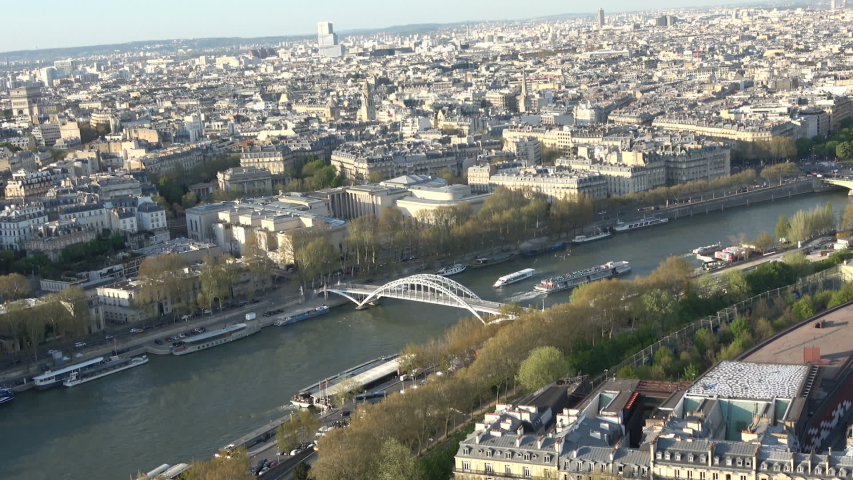 Panoramic view of the Seine river that crosses the city of Paris | Shutterstock HD Video #1036918046