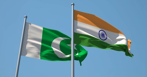 India and Pakistan flag on flagpole. 4K 60fps. the Republic of India and the Islamic Republic of Pakistan waving flag in wind. Conflict Between India and Pakistan.