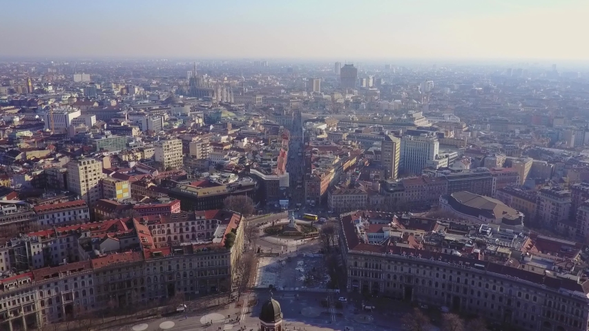 Aerial view of Milan city skyline. Italy at dawn flies back. The theatrical performance filmed from the Milan cityscape in the fall. Aerial shot. A short flight that shows Milan city skyline. drone | Shutterstock HD Video #1036996706