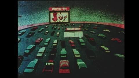 1960s Drive-in Movie Theater Intermission Announcement. Animated Cartoon Long Shot of Drive-In at Night with Snack Back. Alien Enters Refreshment Stand and Orders: 2 of Those Please.