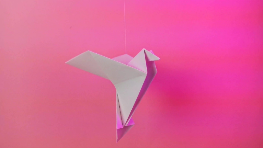 Origami paper dove on a pastel pink background. The concept of arts and crafts, activities for children. Minimalism, fly, place for text. Bright trend neon light. | Shutterstock HD Video #1037034446
