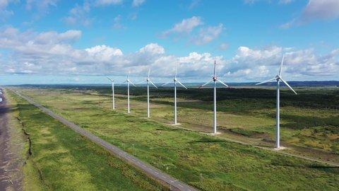 Wind power generation Sarobetsu wild field Hokkaido,Japan