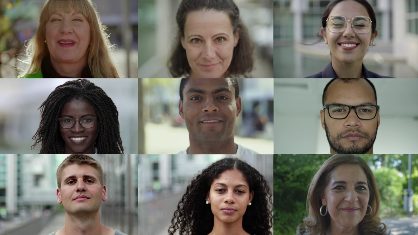 Collage of happy citizens smiling in urban background. Portraits of multiethnic men and women looking at camera. Ethnicity variation concept | Shutterstock HD Video #1037106866