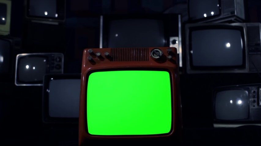 "Retro TV Green Screen Explodes, Broken Screen. Night Tone. Zoom In. You can Replace Green Screen with the Footage or Picture you Want with ""Keying"" effect in AE (check out tutorials on YouTube). 