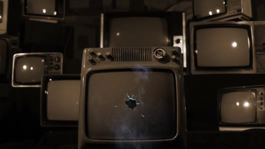 """Retro TV Green Screen Explodes, Broken Screen. Sepia Tone. Zoom In. You can Replace Green Screen with the Footage or Picture you Want with """"Keying"""" effect in AE (check out tutorials on YouTube). 