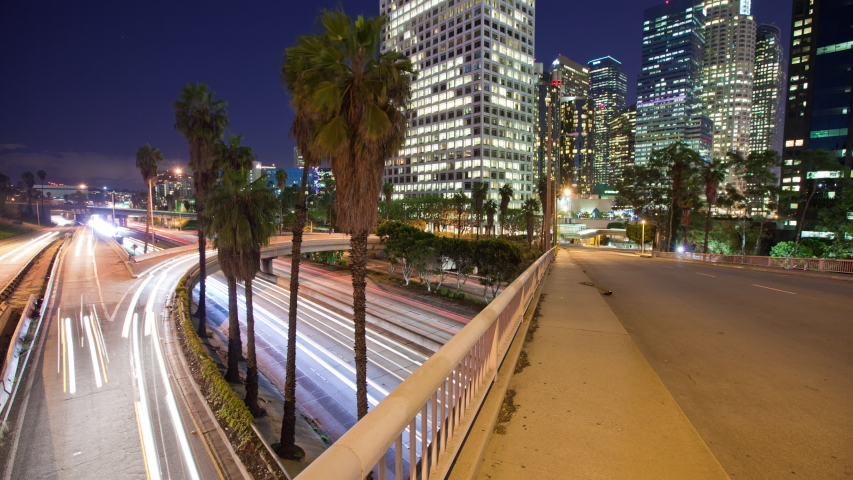 Time Lapse of traffic running through downtown Los Angeles California | Shutterstock HD Video #1037184296