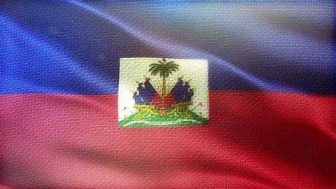 Haiti flag seamless loop. Beautiful detailed texture fabric waving in the wind.