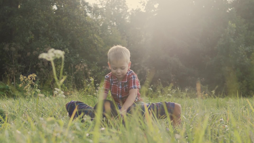 Dad and son happy family play push ups slow motion funny video. father man and son little a boy push ups in nature laugh and play lifestyle   Shutterstock HD Video #1037217986