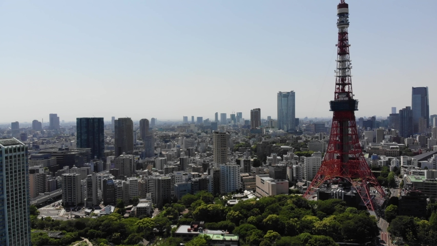 Tokyo Tower Japan aerial drone view city | Shutterstock HD Video #1037323226
