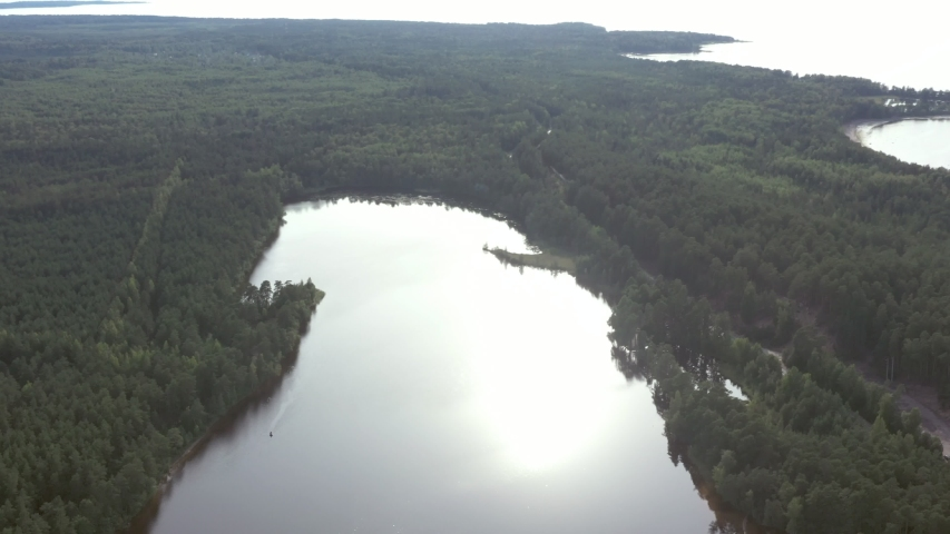 Aerial view from drone on summer forest and lake. Wild nature | Shutterstock HD Video #1037327246
