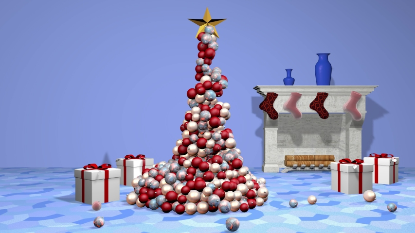Beautiful animated christmas tree. 3D rendering, animation | Shutterstock HD Video #1037445536