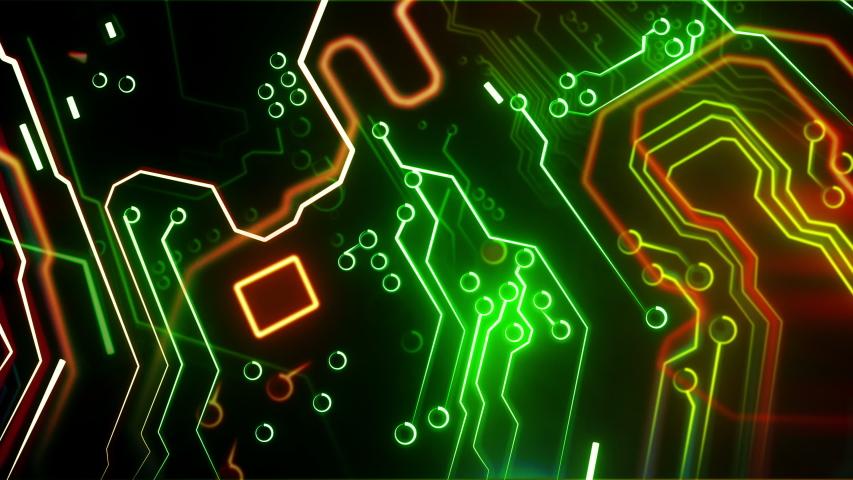 Digital motherboard. Digital grid. Energy waves. CPU Processing. Digital network. Computing. GPU gaming. Web, internet | Shutterstock HD Video #1037496206