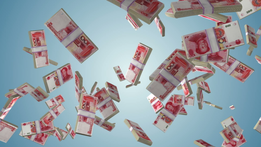 Chinese Yuan currency stack flying in slow motion against blue gradient   Shutterstock HD Video #1037503466