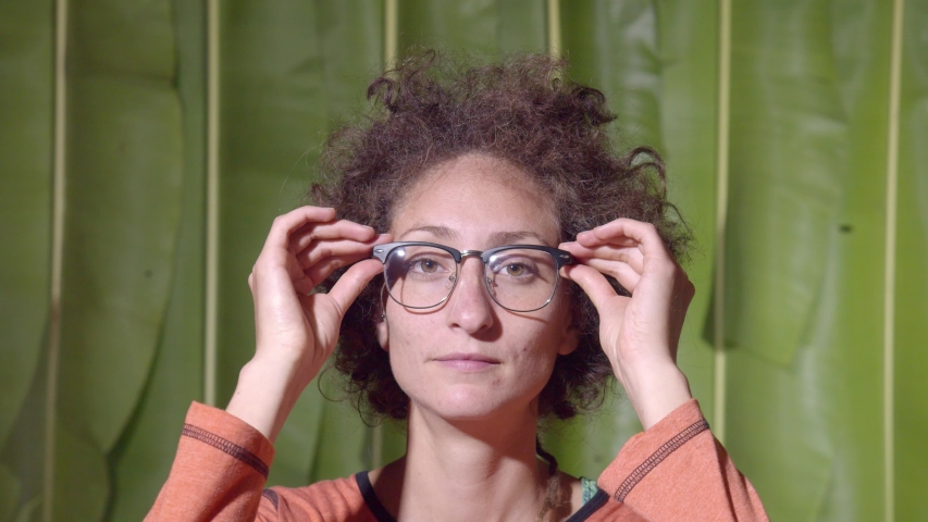Woman Removing The Eye Glasses Like Done Reading Or No Need For Them In Ecuador | Shutterstock HD Video #1037525846