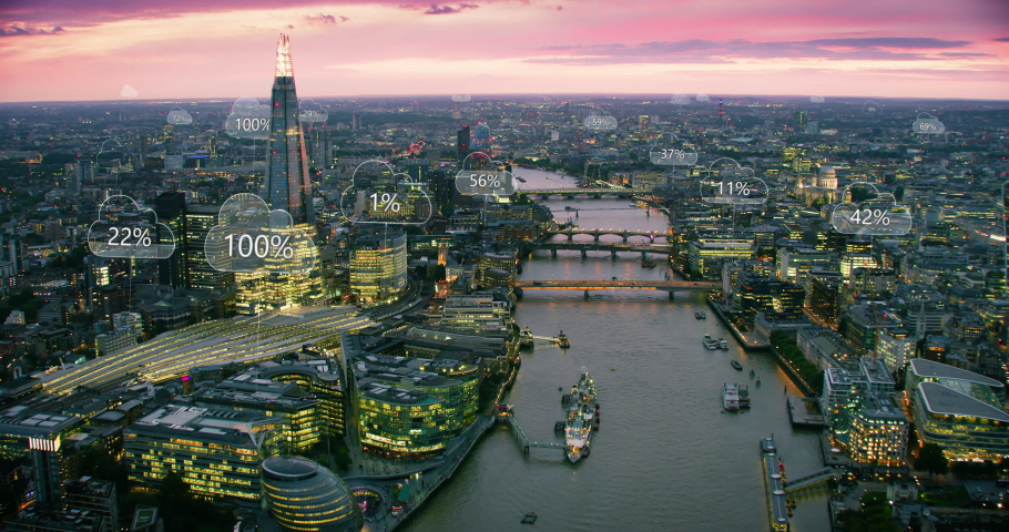Futuristic aerial view of London. Smart city. Network connections and cloud computing icons with percentages. Technology concept, data communication, artificial intelligence, internet of things.  | Shutterstock HD Video #1037797046