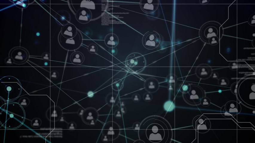 Animation of a global network and data connections on a grid and black background | Shutterstock HD Video #1037916956