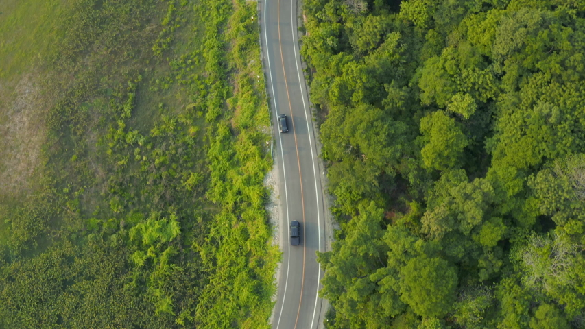 Aerial top view of the cars running on rural road in tropical rainforest and green tree, road going through forest from above view by drone. #1038186536