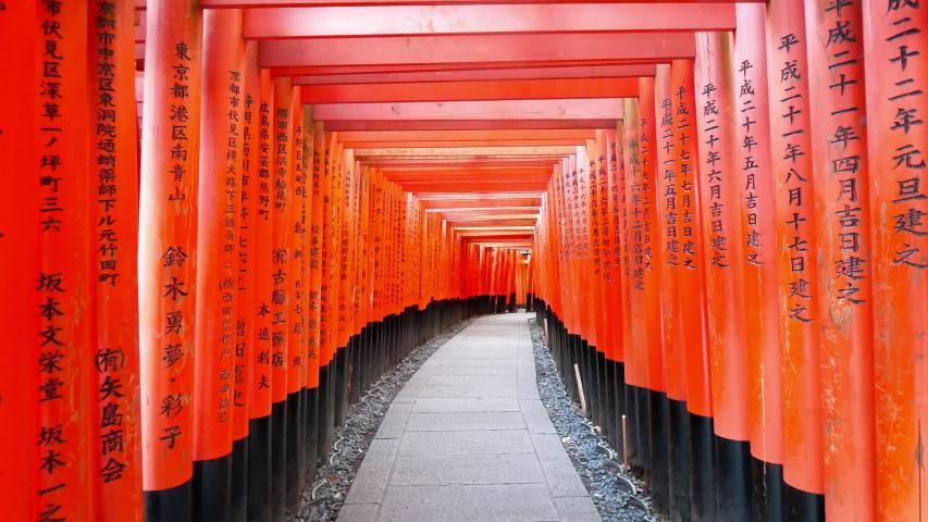 Fushimi Inari Shrine's fame torii at Kyoto,Japan  | Shutterstock HD Video #1038218366