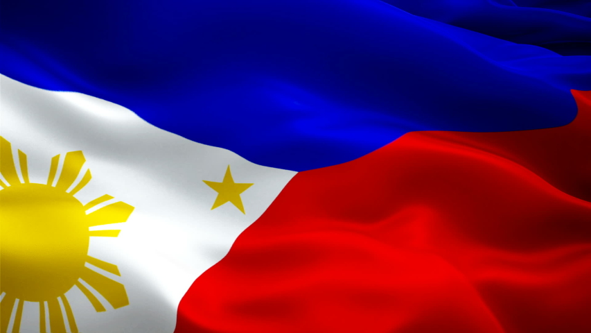 Filipino flag Closeup 1080p Full HD 1920X1080 footage video waving in wind. National ?Manila? 3d Philipines flag waving. Sign of Philippines seamless loop animation. Filipino flag HD resolution Backgr | Shutterstock HD Video #1038324176