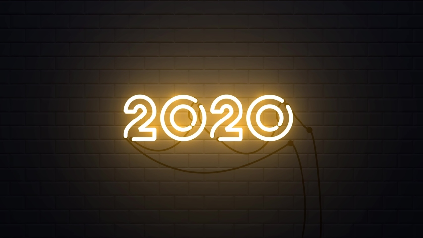 Happy New Year 2020 neon sign background new year resolution concept | Shutterstock HD Video #1038638906