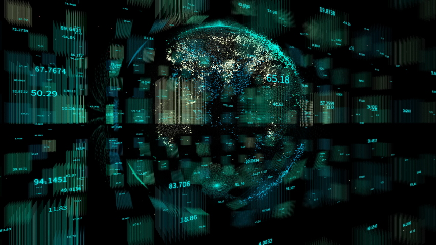 4k digital data globe,a scientific tech data network surrounding planet earth conveying connectivity,complexity and data flood of digital age.Business Data wall,Financial figures.network numbers.  | Shutterstock HD Video #1038697076