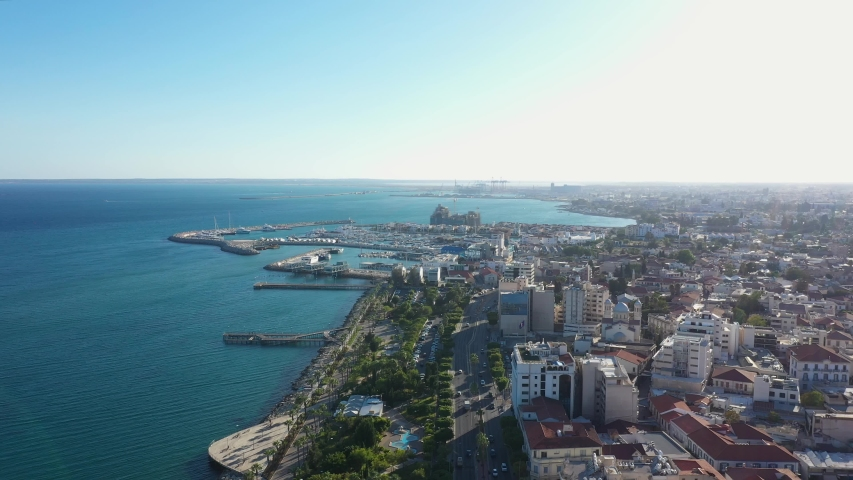 Aerial view of the new marina in Limassol, Cyprus | Shutterstock HD Video #1038731006