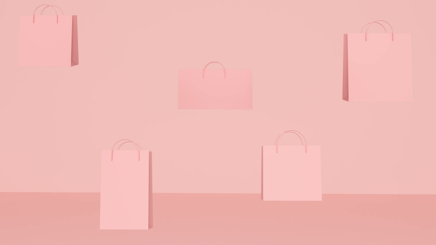 Pink abstract background with flying shopping bags   Shutterstock HD Video #1038732236