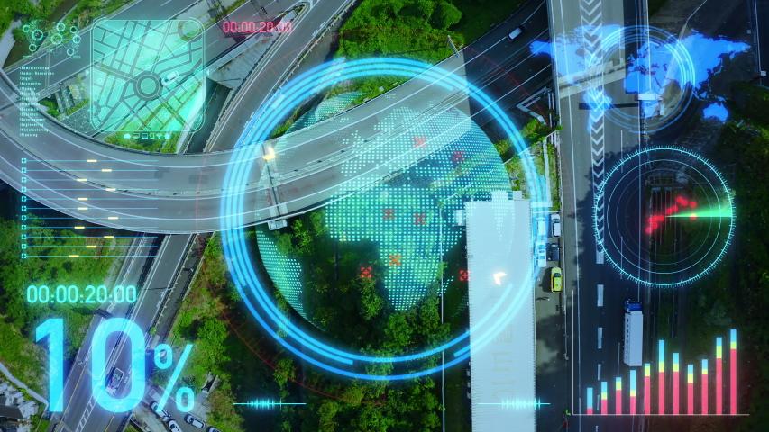 Transportation system concept. Communication network. Autonomous technology.    Shutterstock HD Video #1038835046