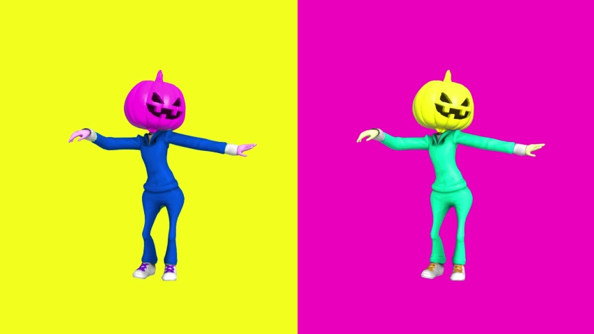 Contemporary animation cartoon art. Dancing Pumkin Head Helloween girl. Fashion colorful vibes. Minimal motion art. Pop art.  | Shutterstock HD Video #1038863726
