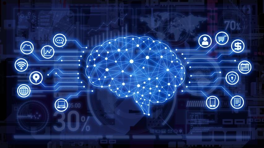AI (Artificial Intelligence) concept. Communication network. | Shutterstock HD Video #1038944036