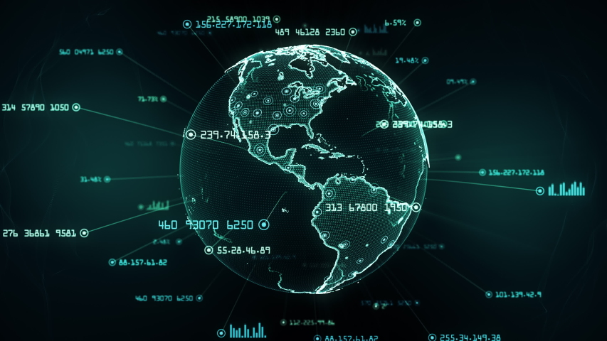 Global network connections. Connecting big data around the world. You can use it for a technology, communication or social media background. Green version. Seamless loop. Alpha matte included. 4K | Shutterstock HD Video #1038962426