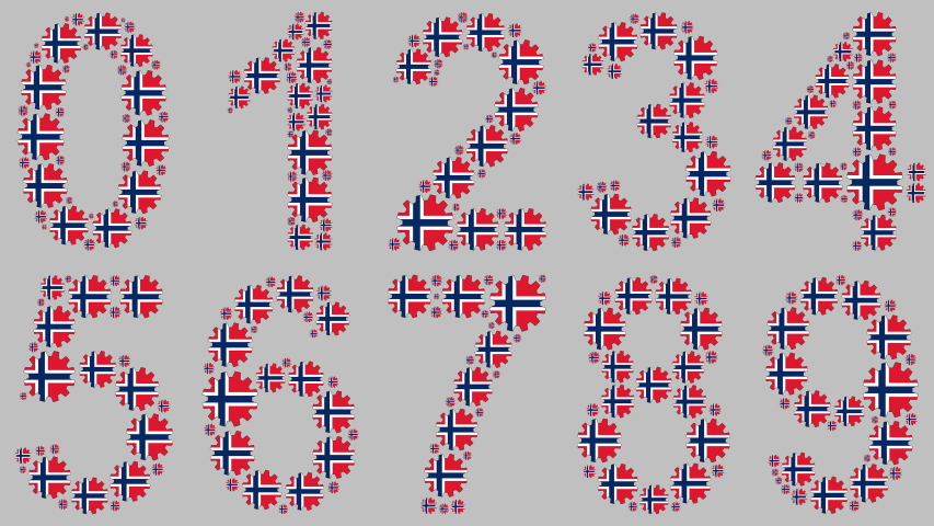 Turning gears with the norwegian flag shaping the numbers from 0 to 9 over gray background | Shutterstock HD Video #1039055246