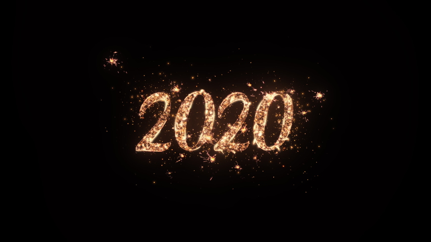 2020 Happy New Year greeting text with particles and sparks on black background, beautiful typography magic design. | Shutterstock HD Video #1039103966