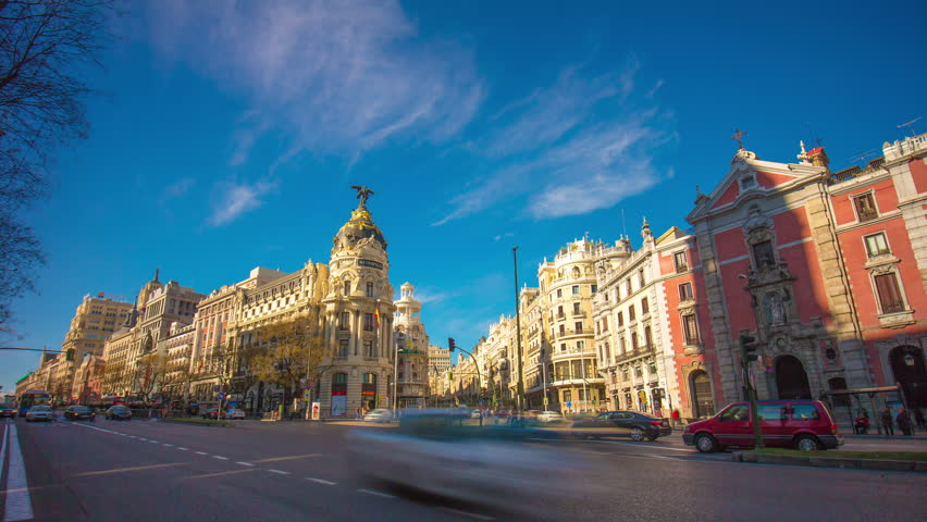 Madrid sun light panorama of metropolis building city aerial 4k time lapse spain | Shutterstock HD Video #10392389