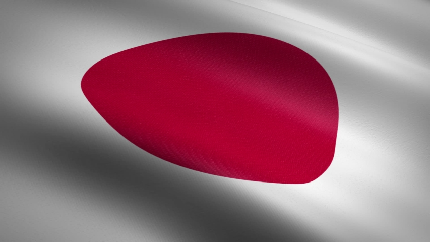 Japan Flag Closeup Loop - waving flag with highly detailed fabric texture seamless loop video. Seamless loop with highly detailed fabric texture. Loop ready in HD resolution 1080p 60fps | Shutterstock HD Video #1039289336