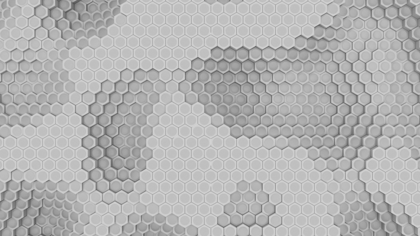 Motion graphic animation. Pulsating hexagon grid effect. Geometric transforming environment. | Shutterstock HD Video #1039394846