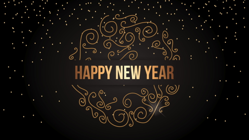 Happy new year animation with golden snowflake ,4k video | Shutterstock HD Video #1039399466